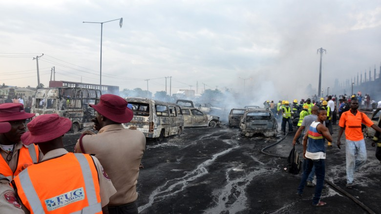 scene of an oil tanker explosion on a highway on June 28, 2018 in Lagos